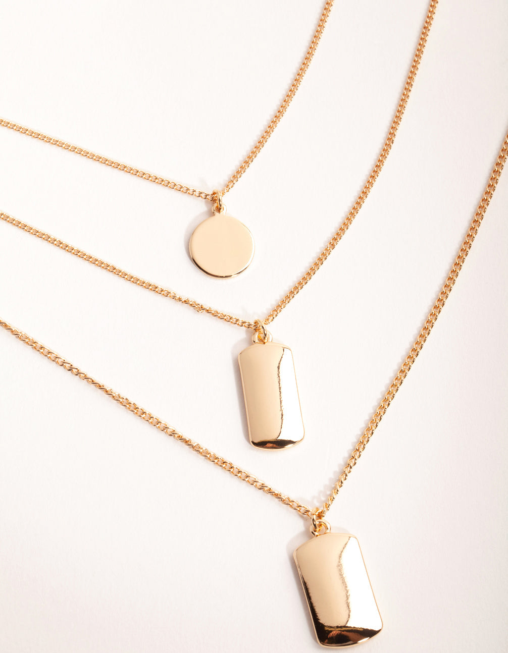 Gold Short Tab and Disc 3-Row Necklace