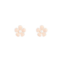 Rhodium Pink Daisy Stud Earring - link has visual effect only