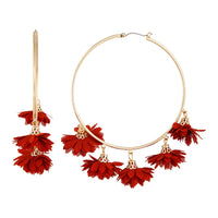 Gold Large Brown Flower Hoop Earring - link has visual effect only
