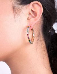 Gold Rainbow Diamante Hoop Earring Pack - link has visual effect only