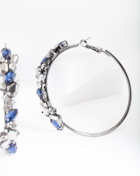 Gunmetal Blue Gem Hoop Earring - link has visual effect only