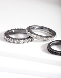 Black Stone Gunmetal Ring Stack - link has visual effect only