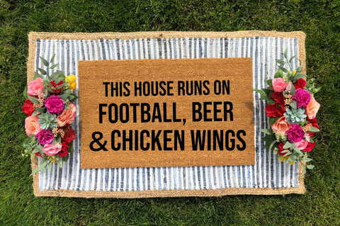 This House Runs on Football, Beer and Chicken Wings Doormat