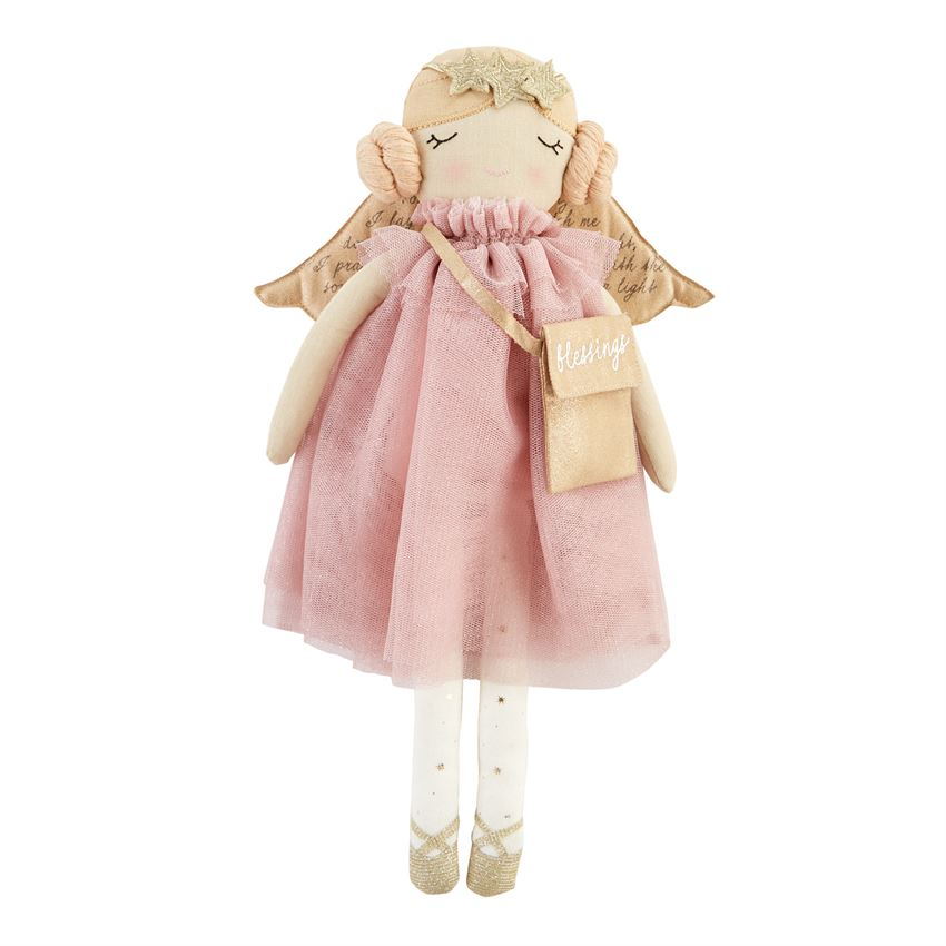 Pink Linen Angel Plush Doll