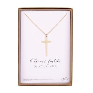"May Love and Faith Be Your Guide 16""L Cross Necklace"