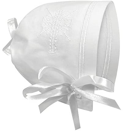 Christening Bonnet/Handkerchief with Straight Hem, White