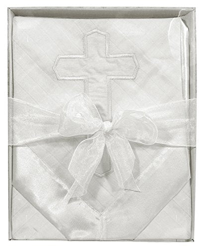 Christening/Blessing Woven Satin Blanket with Embroidered Cross, White