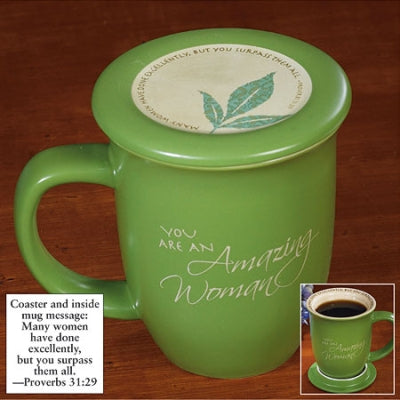 Amazing Woman Mug & Coaster Set - Green