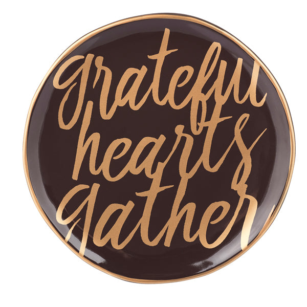 Grateful Hearts Gather Ceramic Plate