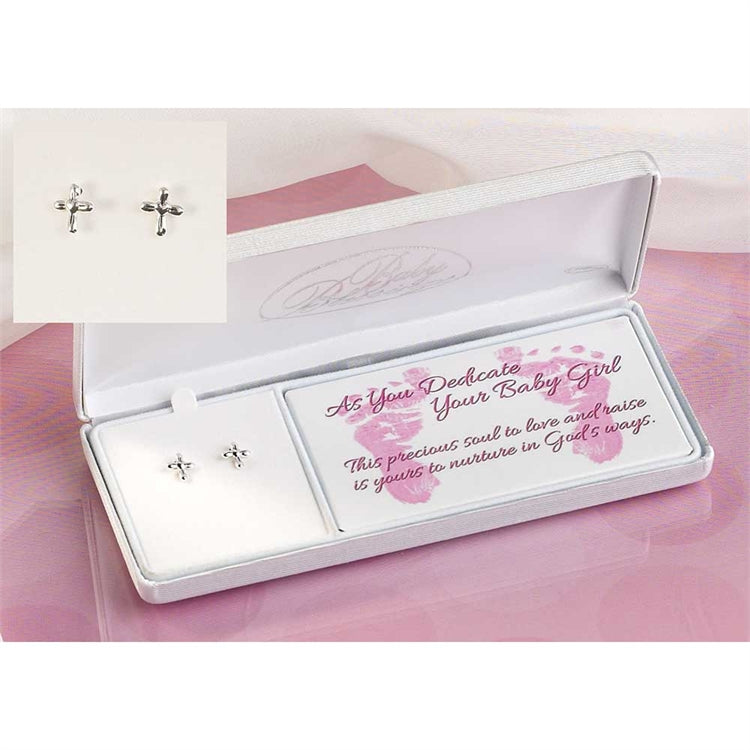 Baby Girl Dedication Cross Earrings