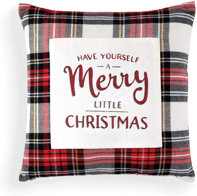 Merry Little Rosy Red Plaid Pillow