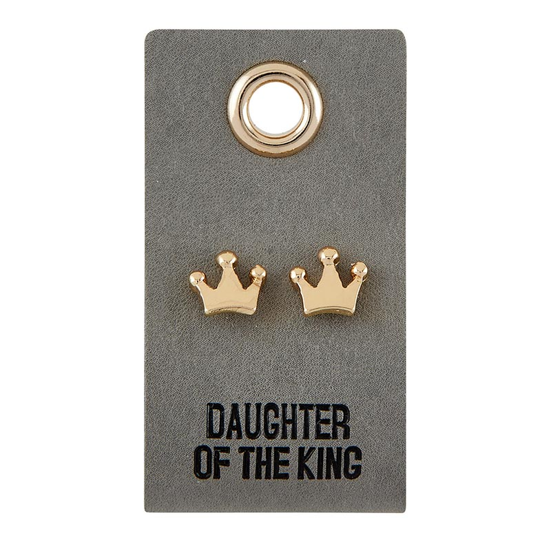 Leather Tag Earrings - Crown