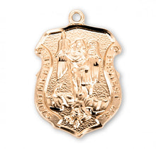 Load image into Gallery viewer, Saint Michael Gold Over Sterling Silver Badge Medal
