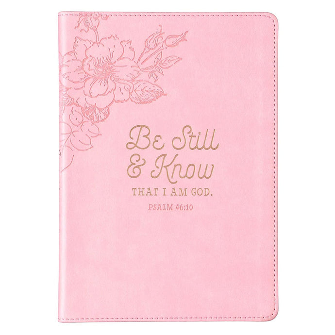 Be Still & Know Pink Slimline Faux Leather Journal - Psalm 46:10