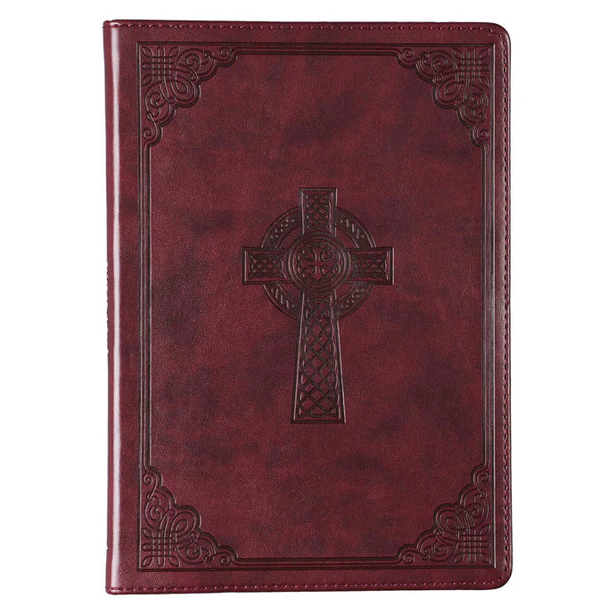 Brown Slimline Faux Leather Journal with Celtic Cross