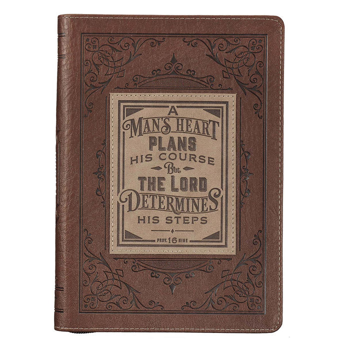 A Man's Heart Classic Faux Leather Zippered Journal in Brown - Proverbs 16:9