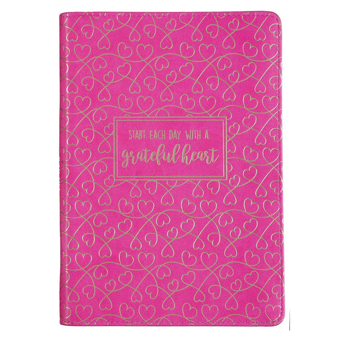 Grateful Heart Zippered Faux Leather Journal in Rose Pink