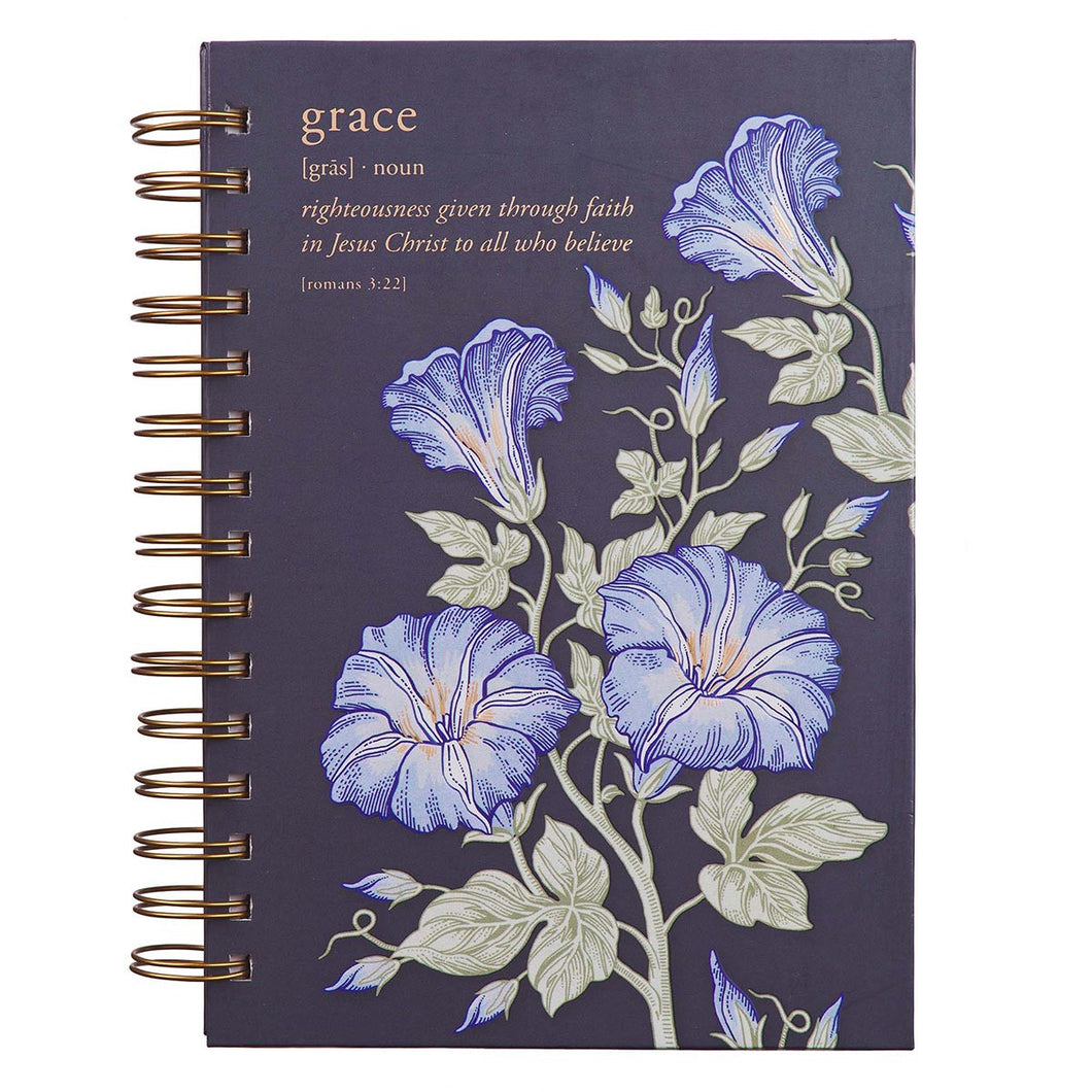 Grace Large Wirebound Journal in Eggplant - Romans 2:33