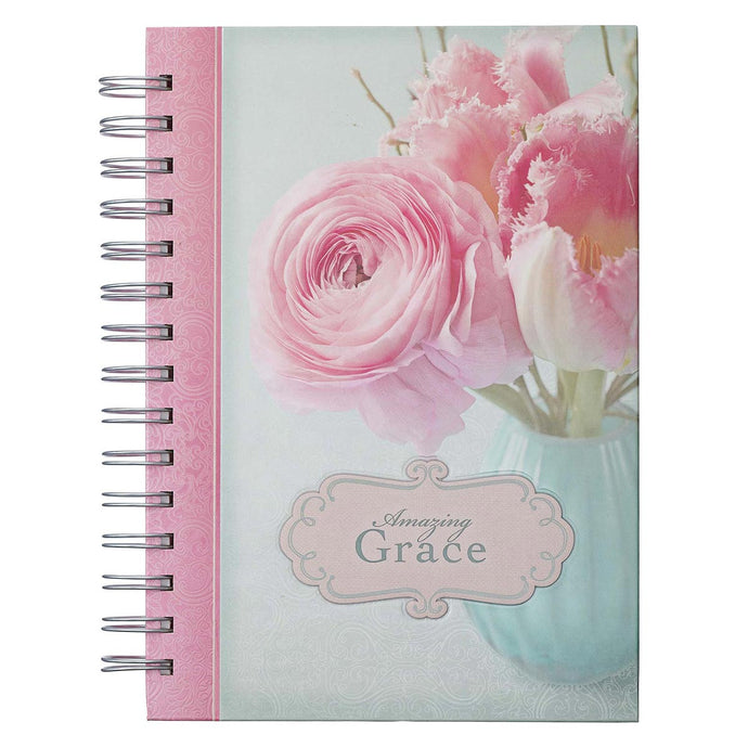 Amazing Grace Large Wirebound Journal with Pink Peonies