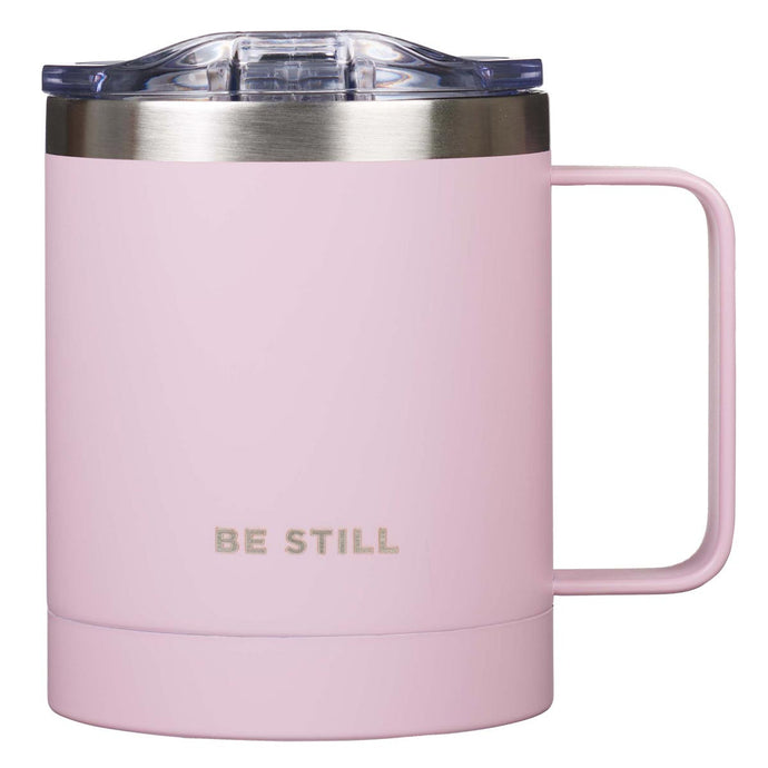 Be Still Stainless Steel Camp Mug in Pink
