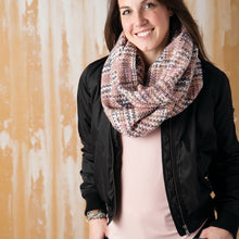 Load image into Gallery viewer, Pink Woven Threads Infinity Scarf