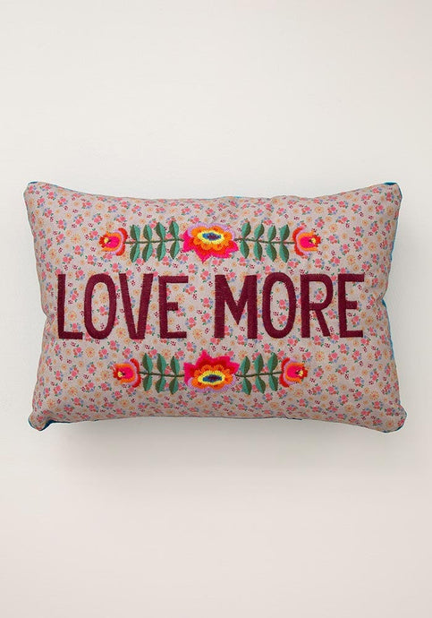 Love More Embroidered Throw Pillow