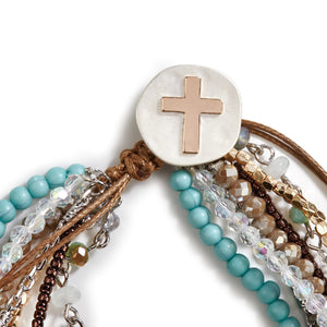 Your Journey Prayer Bracelet - Gray, Garnet, Turquoise