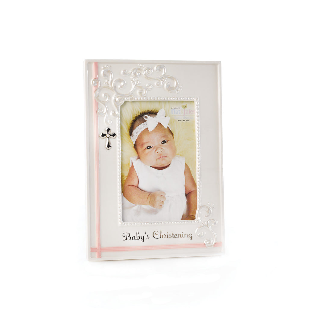 Pink Baby's Christening Frame