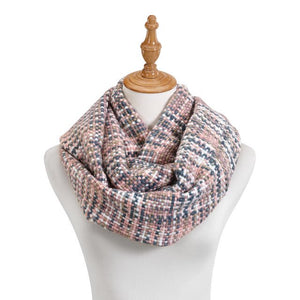 Pink Woven Threads Infinity Scarf