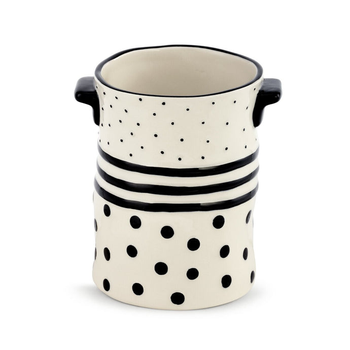 Black Dots and Stripes Crock