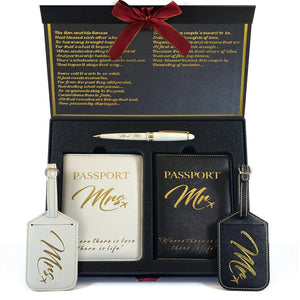 Mr. and Mrs. Luggage Tags + Passport Holder | Unique Wedding and Honeymoon Gifts for Couples - SHOPDELUXY