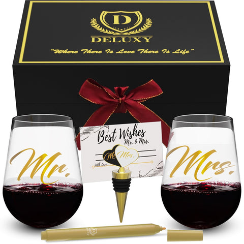Mr and Mrs Stemless Wine Glasses - Wedding, Anniversary, Christmas, Engagement Party Presents - SHOPDELUXY