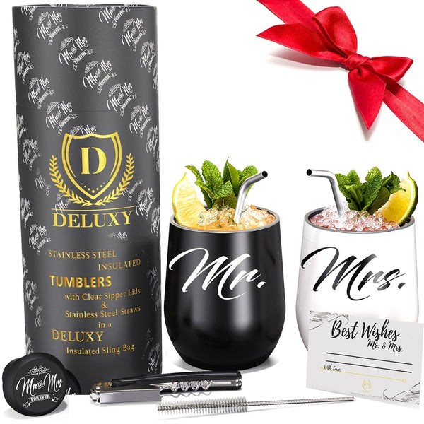 Mr & Mrs Wine Tumblers For Happy Couple | Best Bridal Shower and Wedding Gift - SHOPDELUXY