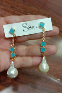 Aqua Long Baroque Earrings - Ssoul Eternal You