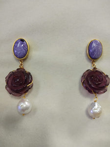 Charoite Amethyst Flower Earring - Ssoul Eternal You