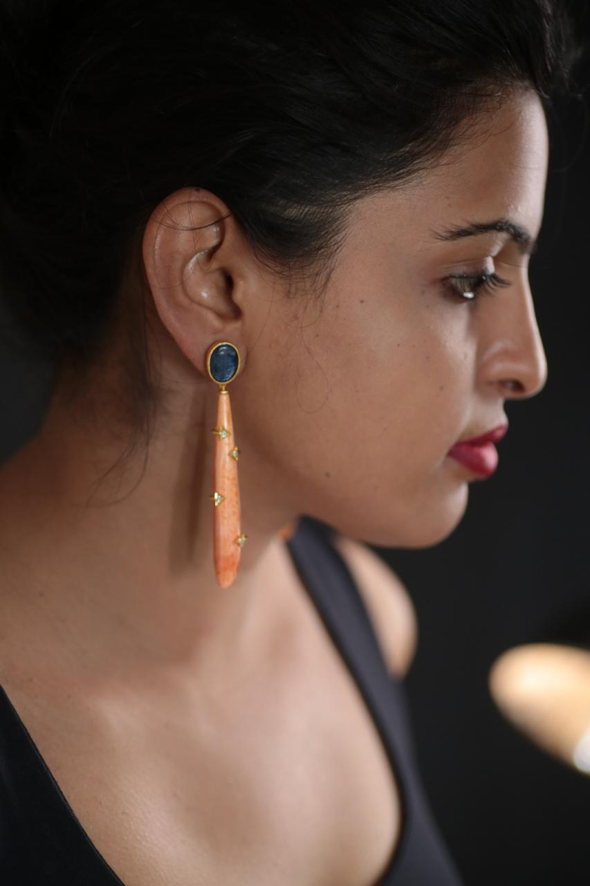 Natural Coral Long Earring - Ssoul Eternal You