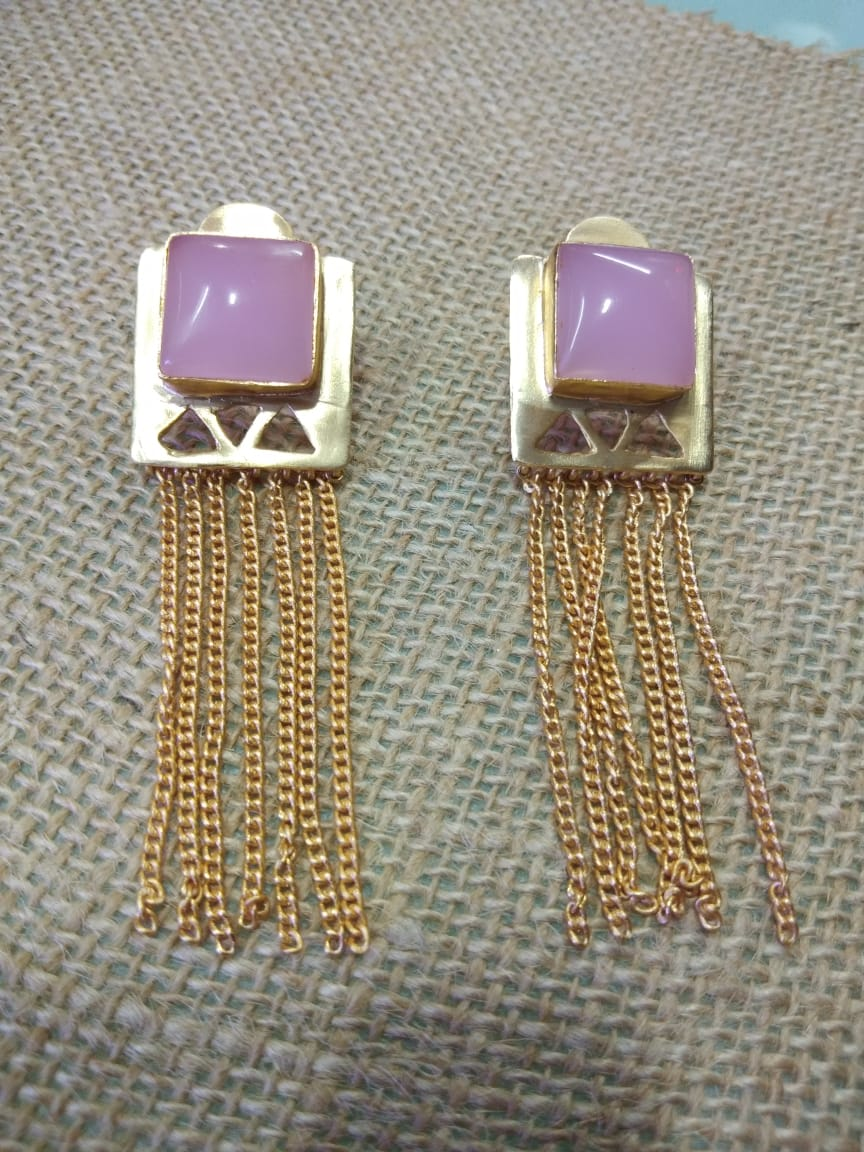 Pink Moonstone Square Chain Tassel Earring - Ssoul Eternal You