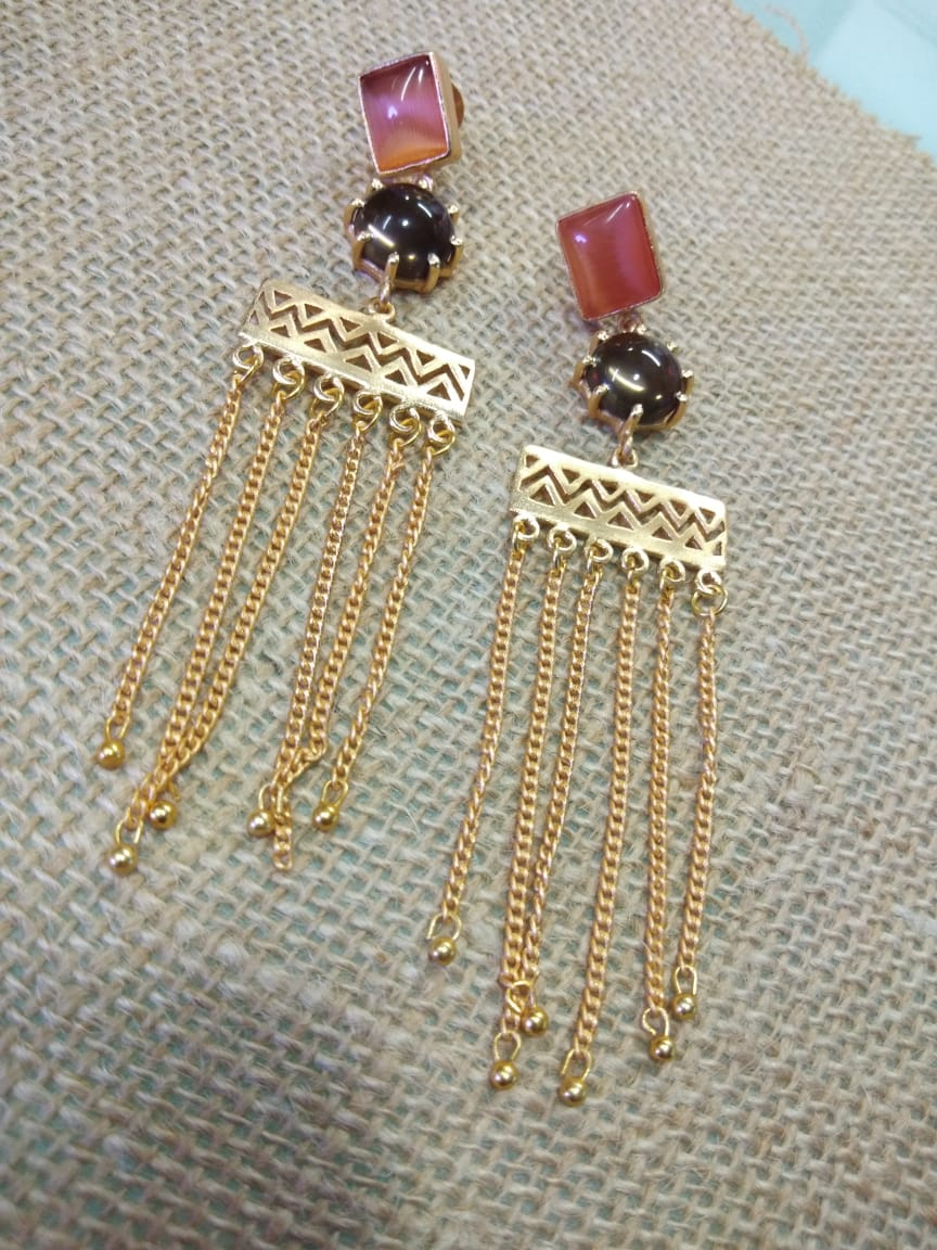 Onyx Chain Tassel Earring - Ssoul Eternal You