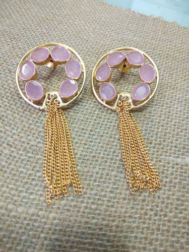 Pink Moonstone Tassel Earring - Ssoul Eternal You