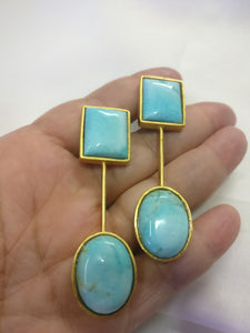 Natural Aqua Agate Geometric Earring - Ssoul Eternal You