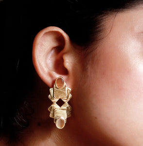 Square Lotus Jhalak Earrings - Ssoul Eternal You