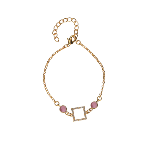 Square Stone Bracelet in Pink - Ssoul Eternal You