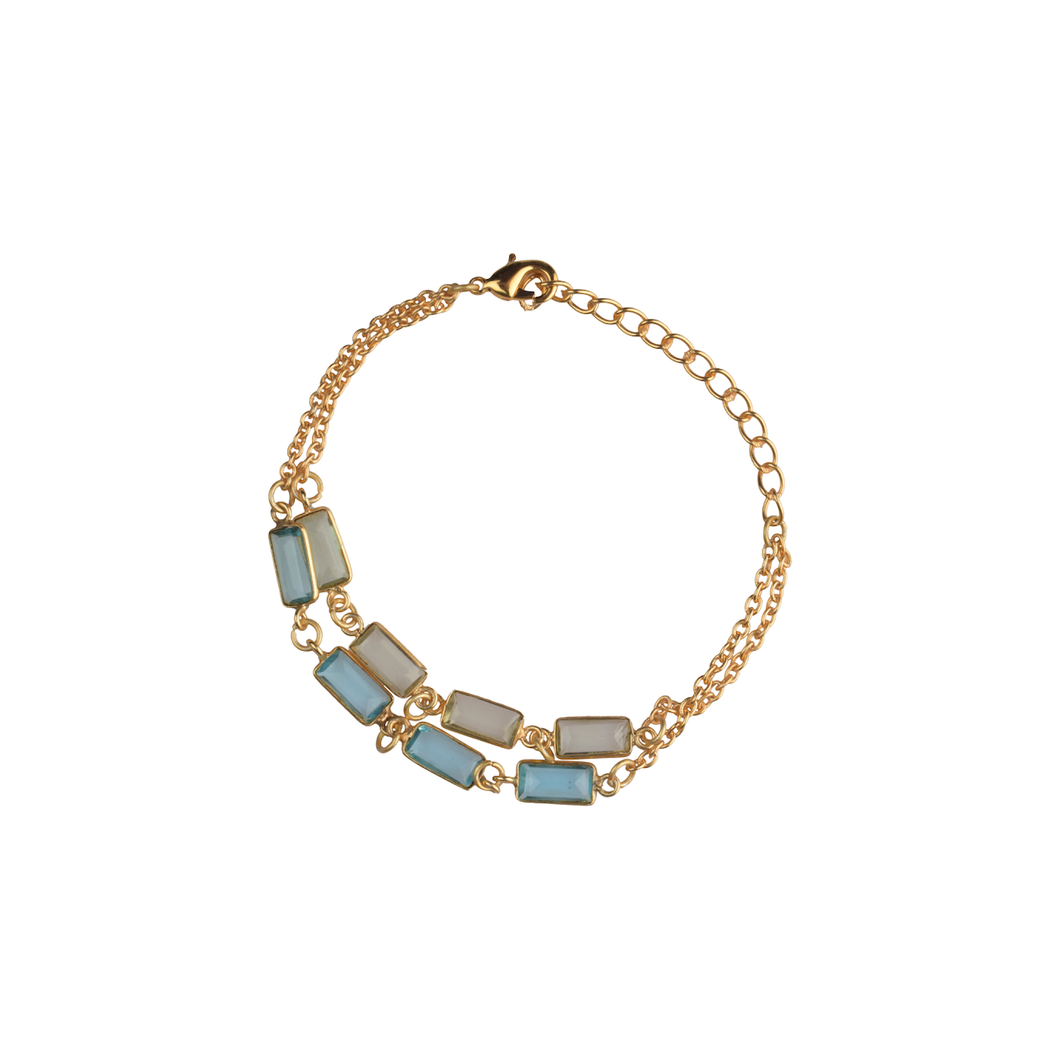 Double Line Bracelet in Green and Blue - Ssoul Eternal You