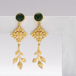 Malacite stone leaf drop earrings - Ssoul Eternal You