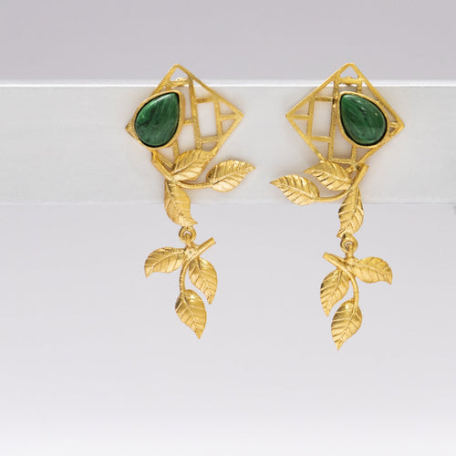 Malachite bric a brac leaf drop earrings - Ssoul Eternal You