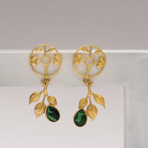 Malachite circular leaf drop earrings - Ssoul Eternal You