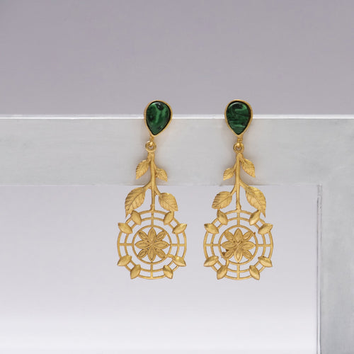 Malachite centre flower leaf set earrings - Ssoul Eternal You