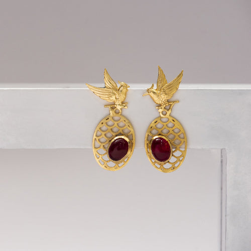 Red stone birds oval criss cross earring - Ssoul Eternal You
