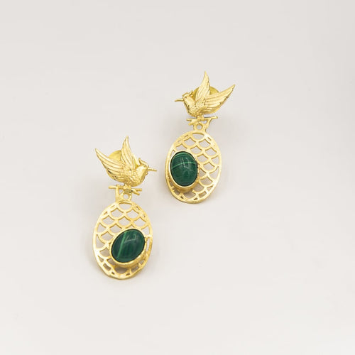 Malachite birds oval criss cross earring - Ssoul Eternal You