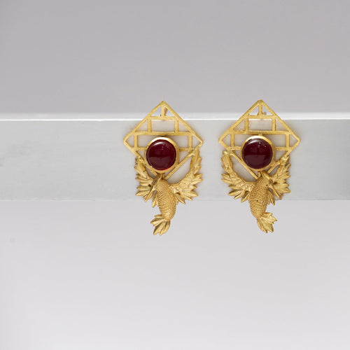 Red Stone bric a brac birds earrings - Ssoul Eternal You